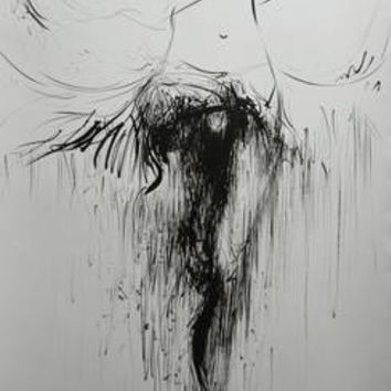 Black and white dancer painting on paper, Black ink on paper figurative painting