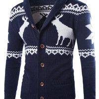 Deer Printed Jacquard Turn-down Collar Long Sleeve Cardigan