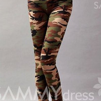 Camouflage Pattern Style Cotton Blend Color Matching Leggings For Women