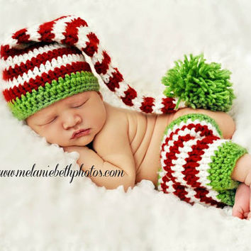 Crochet Baby Elf Hat, stocking and Legwarmer set--Holiday