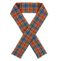 Vintage Homemade Scarf in Blue Orange and Yellow - Knit Muffler Plaid Winter - Gifts For Him or Her