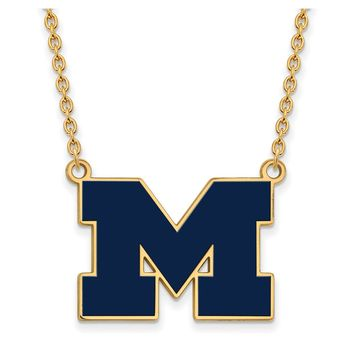 NCAA 14k Gold Plated Silver U of Michigan Lg Enameled Pendant Necklace