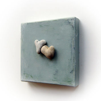 Unique Gift For Couple - genuine Heart shaped Beach stones rocks