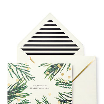 Kate Spade Merry & Bright Holiday Card Set Green ONE