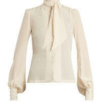 Tie-neck silk-crepe blouse | Talitha | MATCHESFASHION.COM US