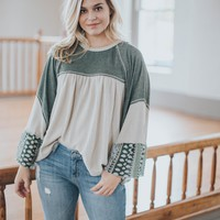 Angie Knit Mix Top, Sage