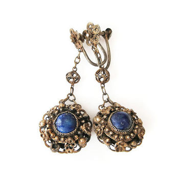 Chinese Export Earrings, China Silver, Gold Plated, Lapis Stone, Filigree, Dangle Drop Earrings, Antique Jewelry