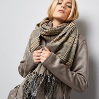 Mink Check Scarf | New Look