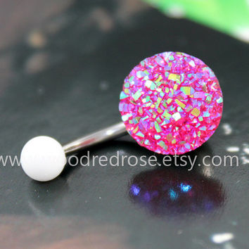 Sparkling belly ring,blingbling belly button ring,fuchsia Navel Jewelry,fuchsia Navel Piercing Ring Stud Piercing
