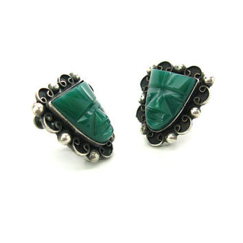 Aztec Mask Earrings Mexican Sterling Silver Carved Green Jade Glass Tribal Face Screw Backs Vintage Souvenir 1940s Old Mexico Jewelry