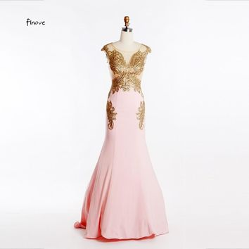 New Design Evening Dresses With Embroidery Beading Pink Long Elegant Prom Dresses Women Formal Gowns