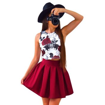 Rose Skull Print Sleeveless Casual Beach Dress Party Dresses Two Piece Clothes