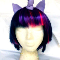 Dusk Shine Wig MLP Unicorn Purple and Pink Costume My Little Pony, Twilight Sparkle, Cosplay
