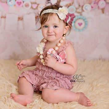 Dusty Rose Romper, Cake Smash Outfit Girl, Baby Girl 1st Birthday Outfit, Newborn Romper, Baby Headband, Lace Romper, Baby Romper, Romper