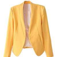 Yellow Single Button Long Sleeve Slim-cut Blazer