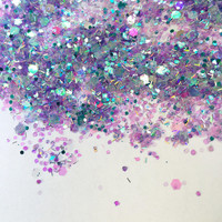 Iridescent Opal (Loose Glitter ~6 grams): face, makeup, hair, nail art, festival glitter, costume, unicorn, silver, moon, rave makeup, body