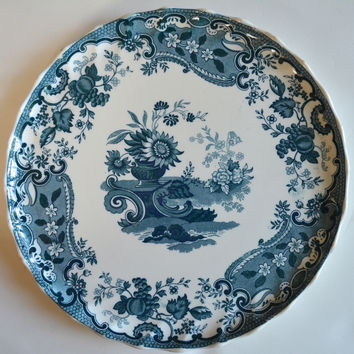 RARE Teal Blue Antique Spode Copeland May Transferware Fluted Edge Cookie / Tart Plate Fruits Urn Flowers