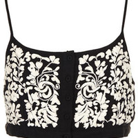 Button Front Floral Crop Top - Festival   - Clothing