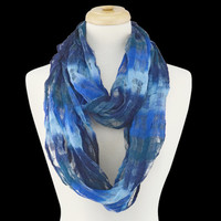 Scarf - Infinity Ombre Textured French Blue