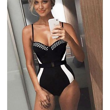 Summer Beach Popular Women Sexy Color Matching One Piece Bikini Swimsuit Black