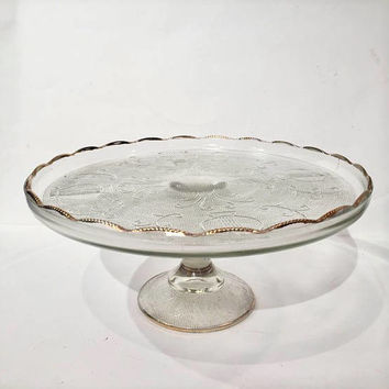 Jeannette Harp Gold Trim Cake Stand, Lyre Gold Trim Glass Cake Stand