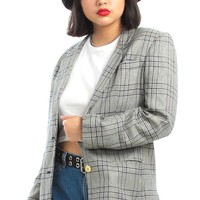 Vintage 90's Bidness Casual Gingham Plaid Jacket - M/L