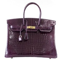 HERMES BIRKIN 35 Bag Very Rare Cassis Porosus Crocodile Gold Hardware