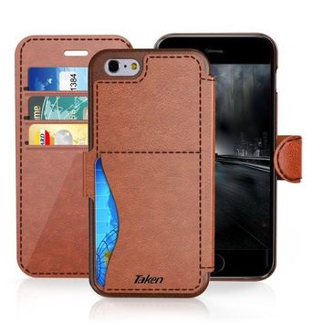 ONETOW iPhone 6/6S Plus Leather Wallet Case with Cards Slot and Metal Magnetic, Slim Fit and Heavy Duty, TAKEN Plastic Flip Case / Cover with Rubber Edge, for Women, Men, Boys, Girls, 5.5 Inch (Dark Brown)