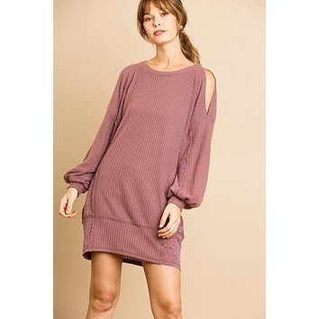 Women's Casual Fashion Dress Long Sleeve Waffle Knit Open Shoulder Dress With Heathered Side Panels
