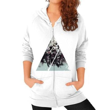 Geometric Conversation Zip Hoodie (on woman)