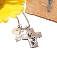 Footprints in the Sand Cross Necklace with Personalized Stamped Initial and White Glass Pearl