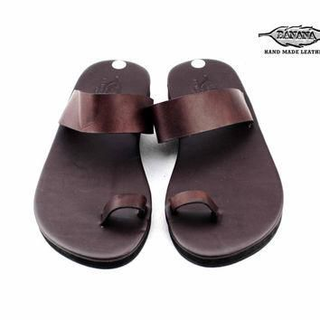 Ancient Greek Roma Sandals Genuine Leather Chamois Leather Shoes Flip Flops Slippers V