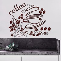 Coffee Wall Decals Cup Decal Vinyl Sticker Home Decor Interior Design Bakery Kitchen Cafe Restaurant Mural MN974
