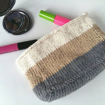 Knit Makeup Bag with Lining – Makeup Organizer – Color Block Zipper Pouch – Cosmetic Bag – Knit Bag – Medium Size Travel Tote - Gift for Her