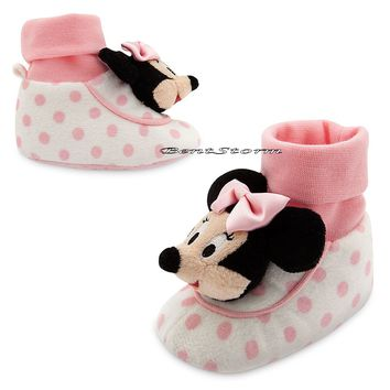 Licensed cool Minnie Mouse Head Pink/White Polka Dot BABY Plush Slippers Disney Store 12-18M