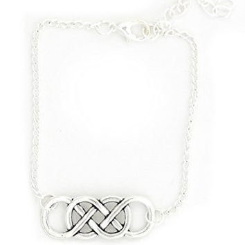 Double Infinity Loop Bracelet Silver Tone Eternity Statement Charm BF10 Fashion Jewelry