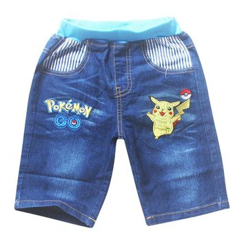 2017 summer Children Baby Boys Girls Jeans Pants Kid's POKEMON GO Kids Casual Full shorts Pants Boys Sports Denim Trousers