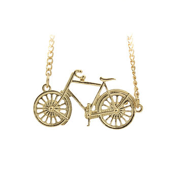 Women's Gold Plated GP Jewelry Cute Bike Pendant Necklace gift for Girls Kids Friendship EF02