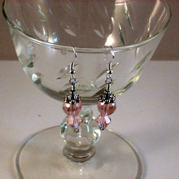BLUSHING - Pink Crystal Tear Drop Wire Wrapped Earrings