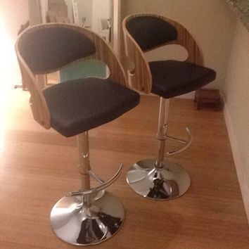 Pair of zebra wood barstools