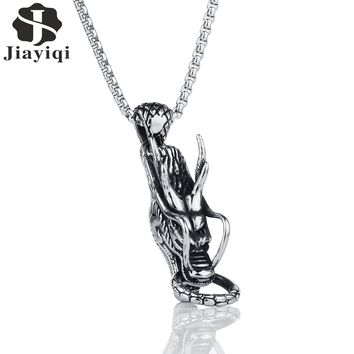 Jiayiqi Punk Dragon Design Necklace Men's Stainless Steel Pendants Necklace for Men Jewelry Silver Color Chain Personality Gifts