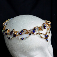 Crystal and Glass Beaded Professional Ballet Headpiece. Arabian. For dance, performance and stage.