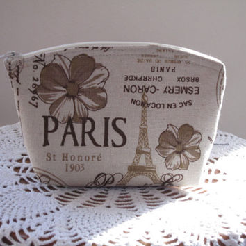 Linen Clutch Cosmetic Bag  Purse Retro Vintage French Country Style  Wedding Bridesmaid Gift