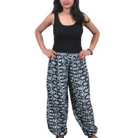 Boho Indi Pants Black Printed Hippy Yoga Chic Baggy Pant Trousers for Women's: Amazon.com: Clothing