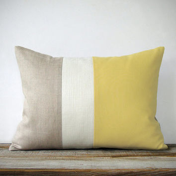 Butter Yellow Linen Color Block Cushion Cover with Cream Stripe by JillianReneDecor - Spring Summer Home Decor - Pastel Yellow Pillow