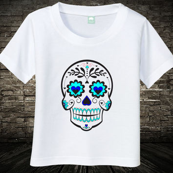 Baby Skull Shirt Newborn Girls Tee Dia De Las Muertas Day Of The Dead Infant Tshirt 0 6 Months 12 18 24 2T 3T 4T White Girls Kids Cotton Top