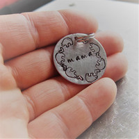 Mama Bear Hand Stamped Charm, 1 inch Aluminum Disc