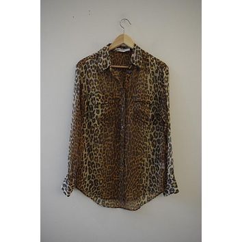 Equipment Cheetah Silk Button Down