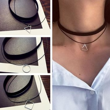 Multilayer Chokers Necklaces For Women Triangle Circle Geometric Pendant Necklace Collares Fashion Jewelry Bijoux Colar