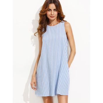 Stripe Button Keyhole Back Swing Dress